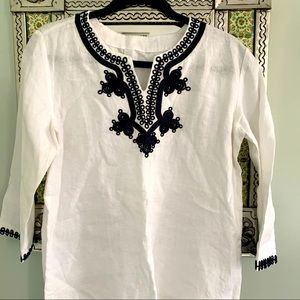 Linen Tunic White and Navy Blue Embroidery